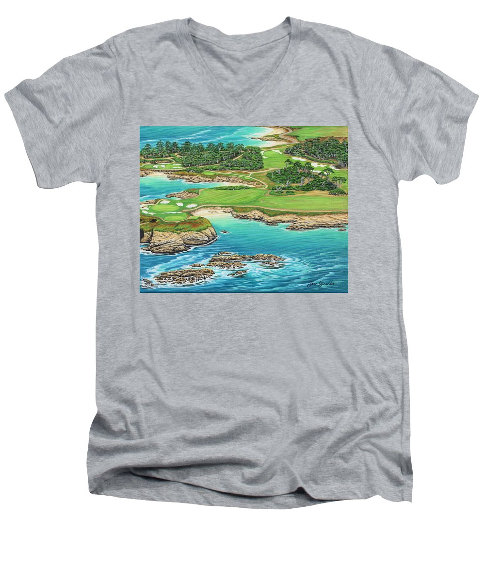 Ocean Men's V-Neck T-Shirt featuring the painting Pebble Beach 15th Hole-south by Jane Girardot