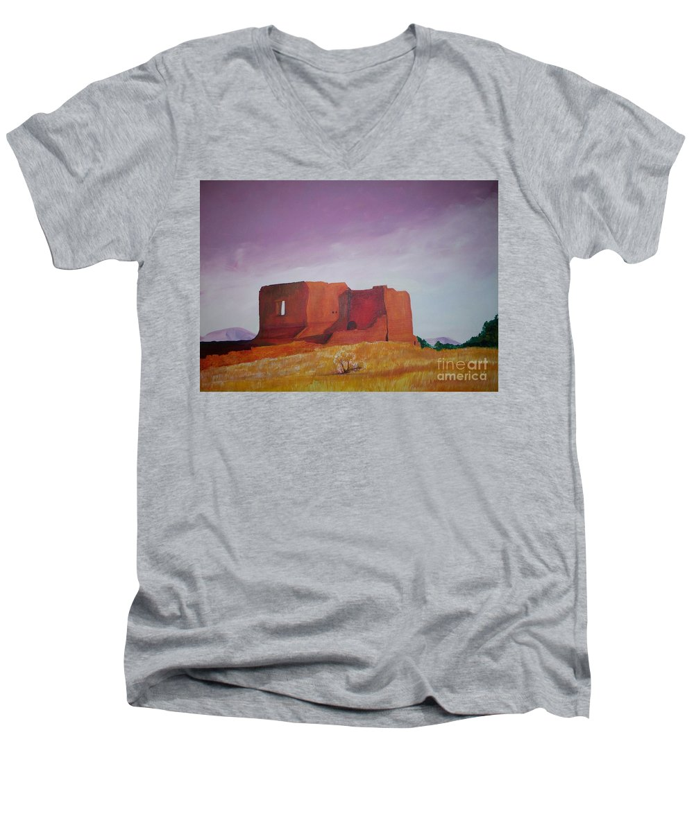 Western Men's V-Neck T-Shirt featuring the painting Pecos Mission Landscape by Eric Schiabor