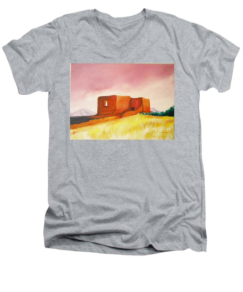 Western Landscapes Men's V-Neck T-Shirt featuring the painting Pecos Mission Nm by Eric Schiabor