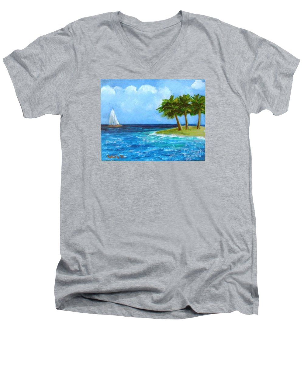 Boats Men's V-Neck T-Shirt featuring the painting Perfect Sailing Day by Laurie Morgan