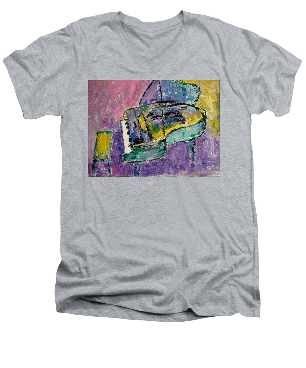 Impressionist Men's V-Neck T-Shirt featuring the painting Piano Green by Anita Burgermeister