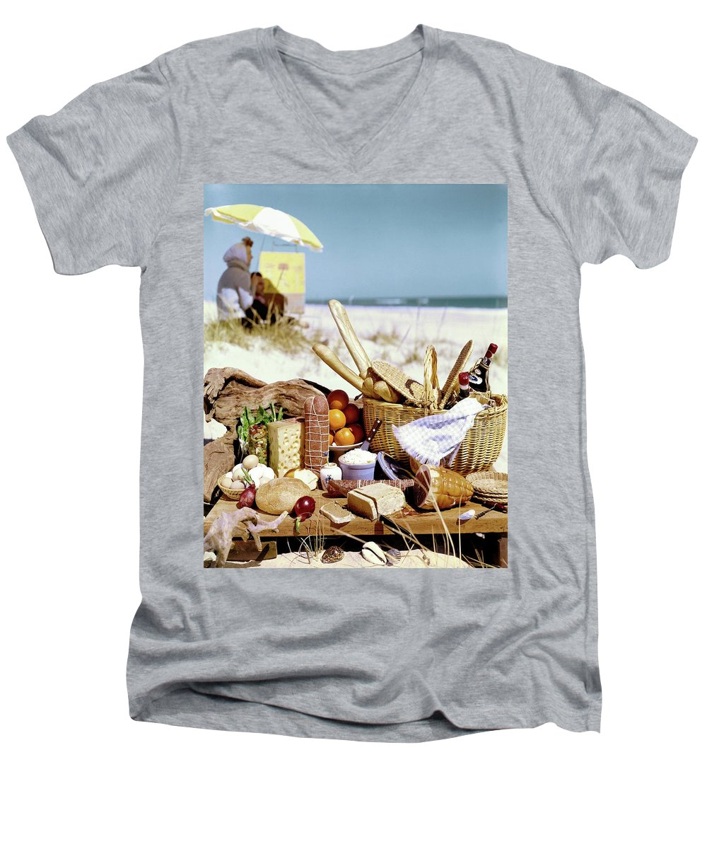 Still Life Men's V-Neck T-Shirt featuring the photograph Picnic Display On The Beach by Stan Young