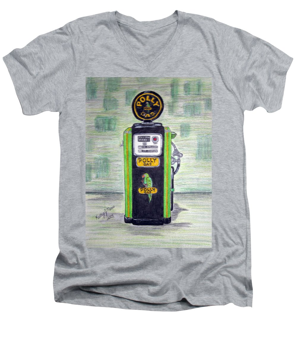Parrot Men's V-Neck T-Shirt featuring the painting Polly Gas Pump by Kathy Marrs Chandler