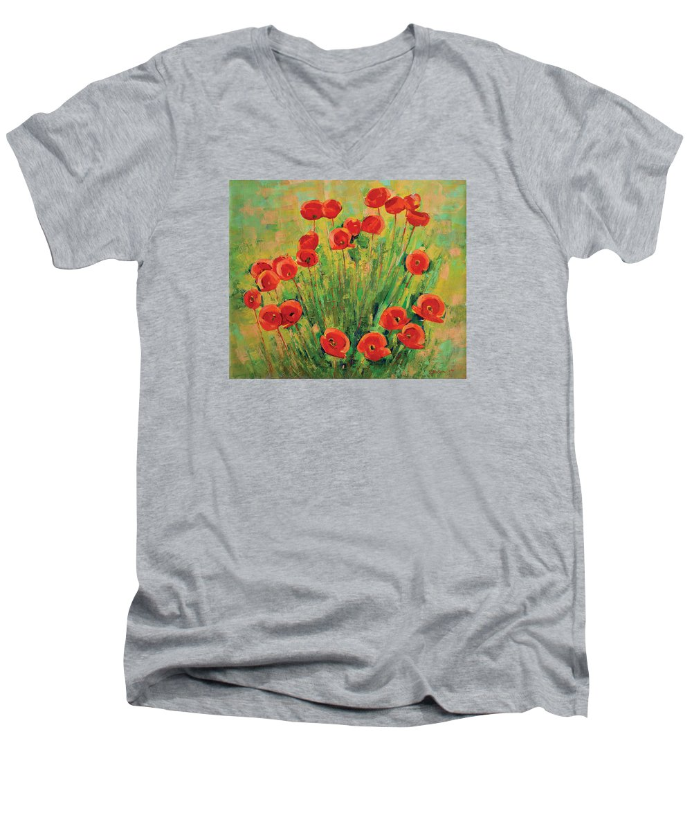 Poppies Men's V-Neck T-Shirt featuring the painting Poppies by Iliyan Bozhanov