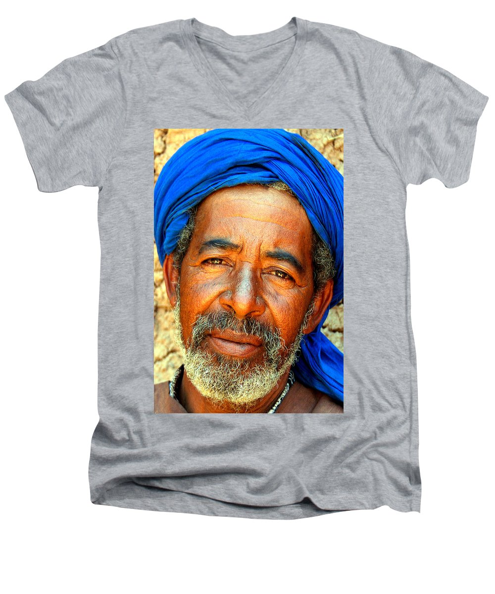 Berber Man Men's V-Neck T-Shirt featuring the photograph Portrait Of A Berber Man by Ralph A Ledergerber-Photography