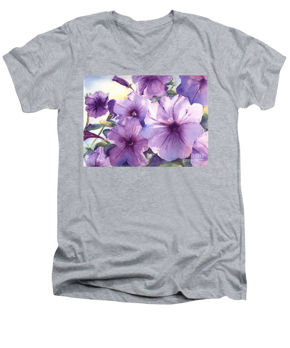 Purple Men's V-Neck T-Shirt featuring the painting Purple Profusion by Patricia Henderson