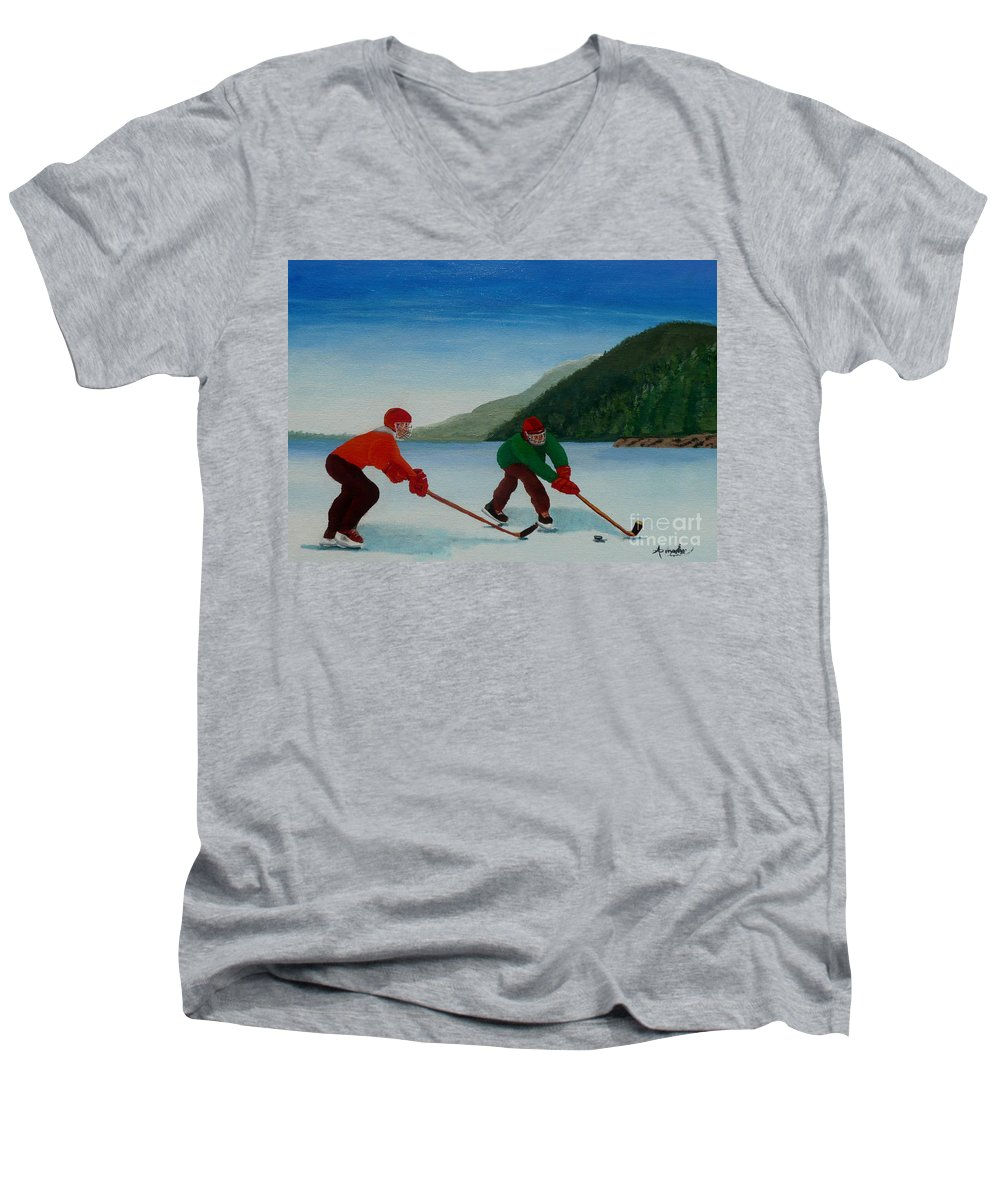 Pond Men's V-Neck T-Shirt featuring the painting Reach For It by Anthony Dunphy