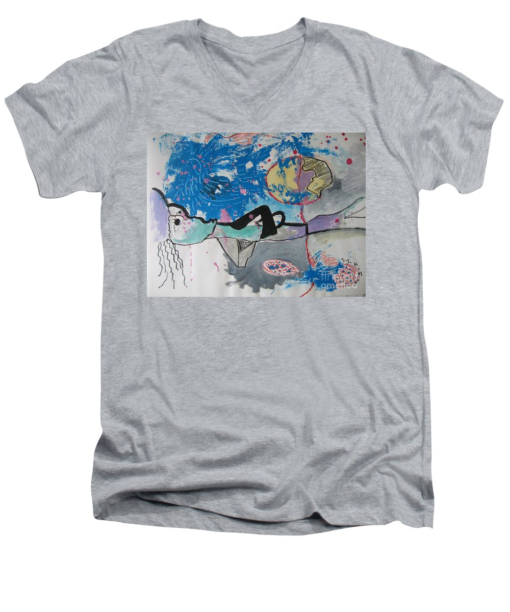 Abstract Paintings Men's V-Neck T-Shirt featuring the painting Read My Mind2 by Seon-Jeong Kim
