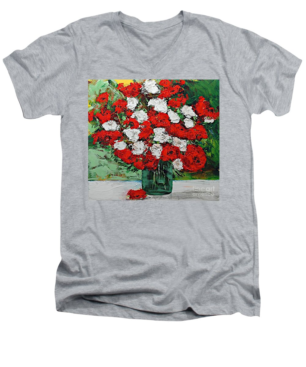 Landscape Men's V-Neck T-Shirt featuring the painting Red Explosion by Allan P Friedlander