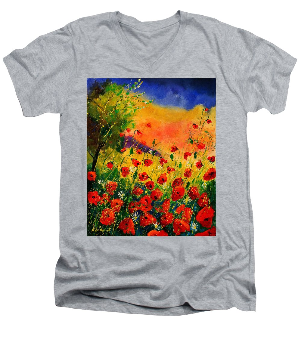 Poppies Men's V-Neck T-Shirt featuring the painting Red Poppies 45 by Pol Ledent