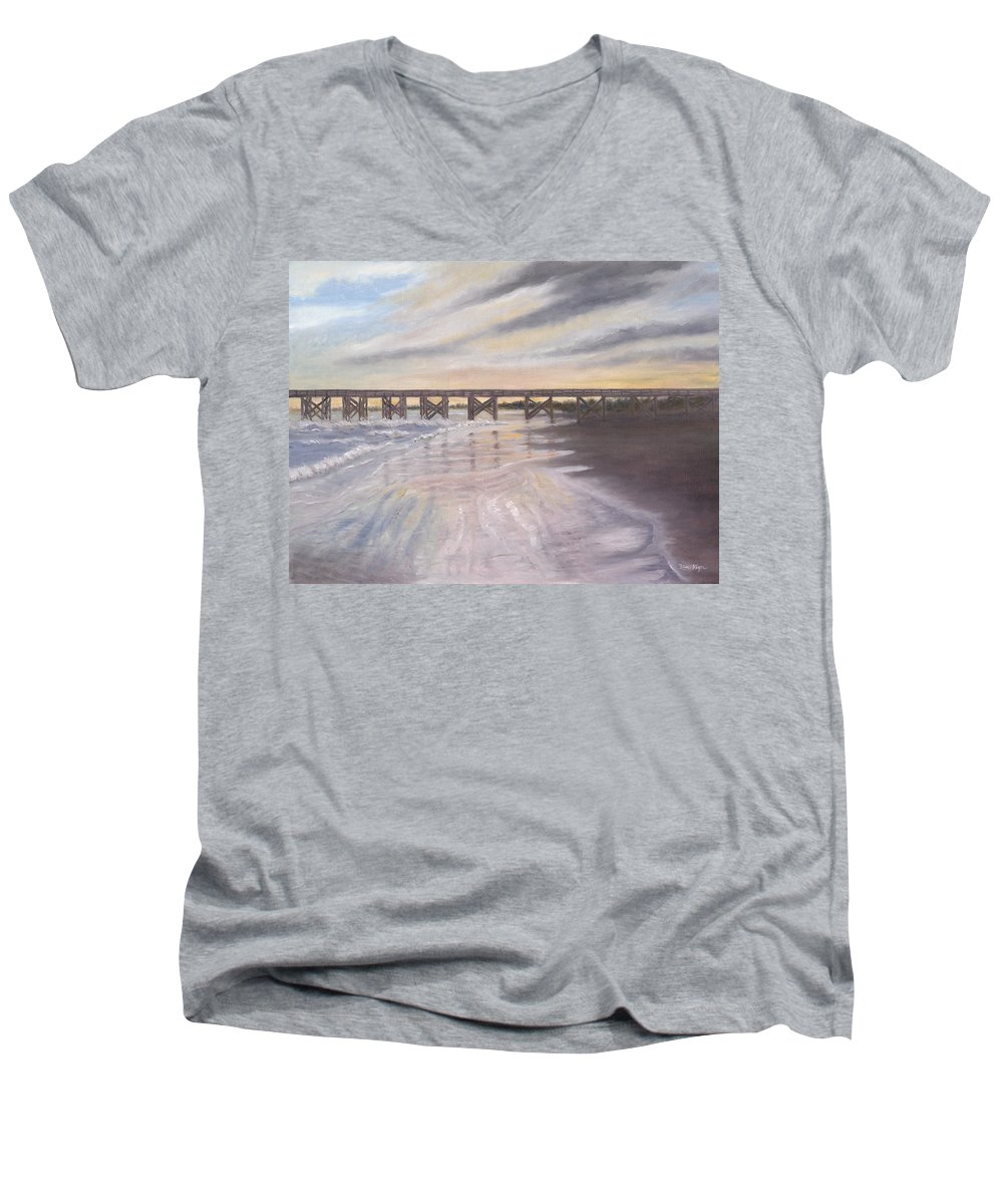 Beach; Pier; Low Country Men's V-Neck T-Shirt featuring the painting Reflections by Ben Kiger