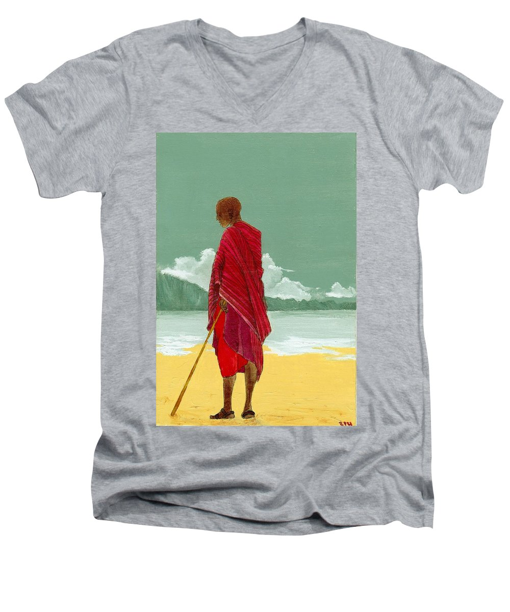 Figurative Painting Men's V-Neck T-Shirt featuring the painting Reverence by Edith Peterson-Watson