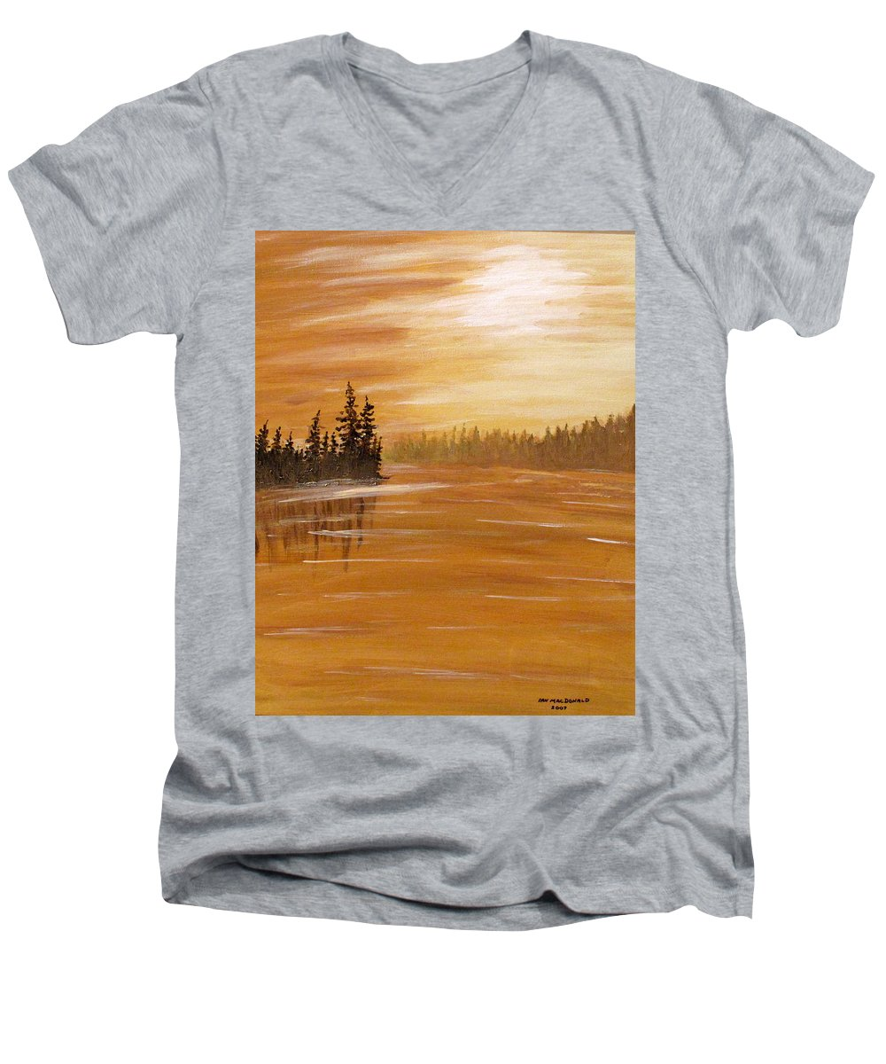 Northern Ontario Men's V-Neck T-Shirt featuring the painting Rock Lake Morning 1 by Ian MacDonald