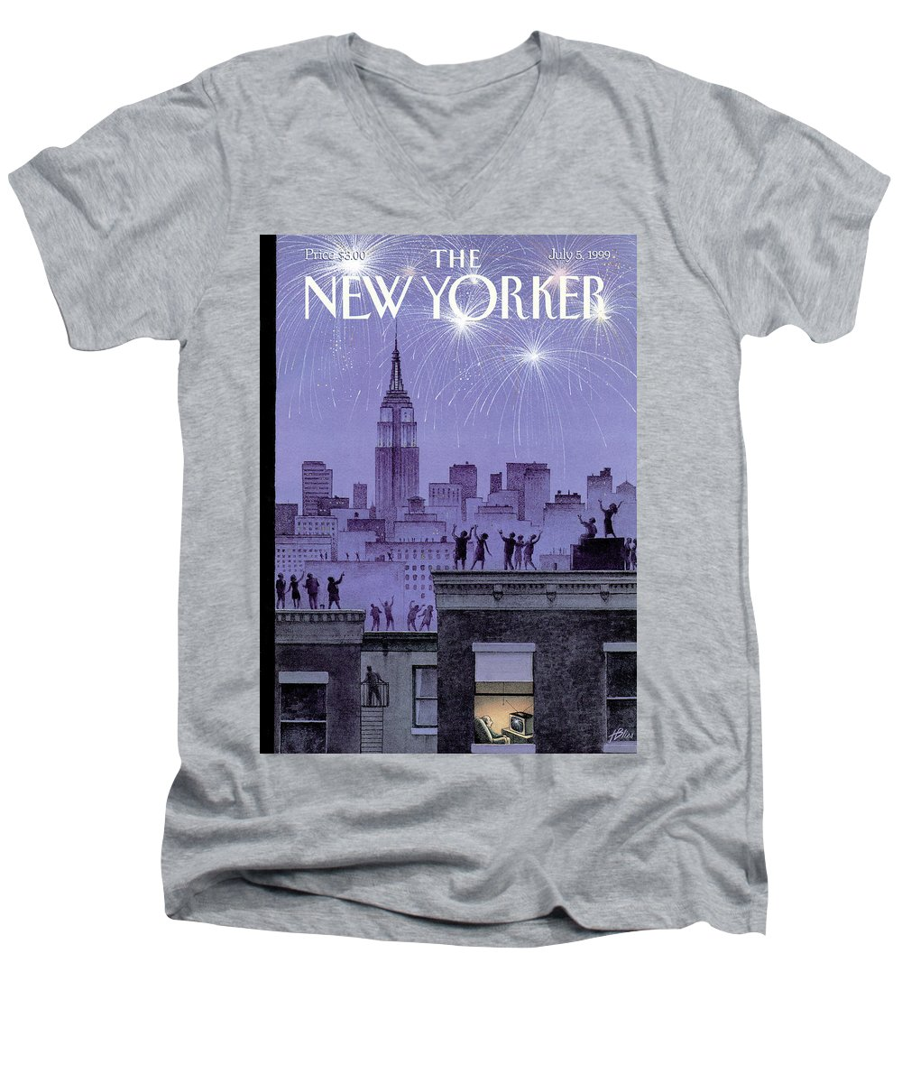 Harry Bliss Hbl Men's V-Neck T-Shirt featuring the painting Rooftop Revelers Celebrate New Year's Eve by Harry Bliss