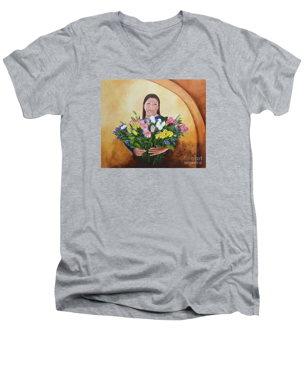 People Men's V-Neck T-Shirt featuring the painting Rosa's Roses by Mary Rogers