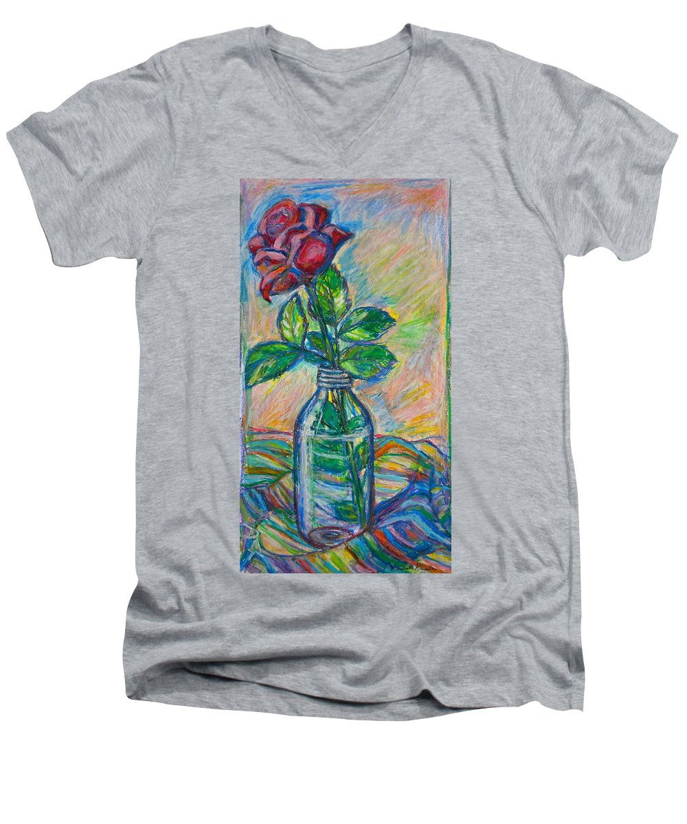 Still Life Men's V-Neck T-Shirt featuring the painting Rose In A Bottle by Kendall Kessler