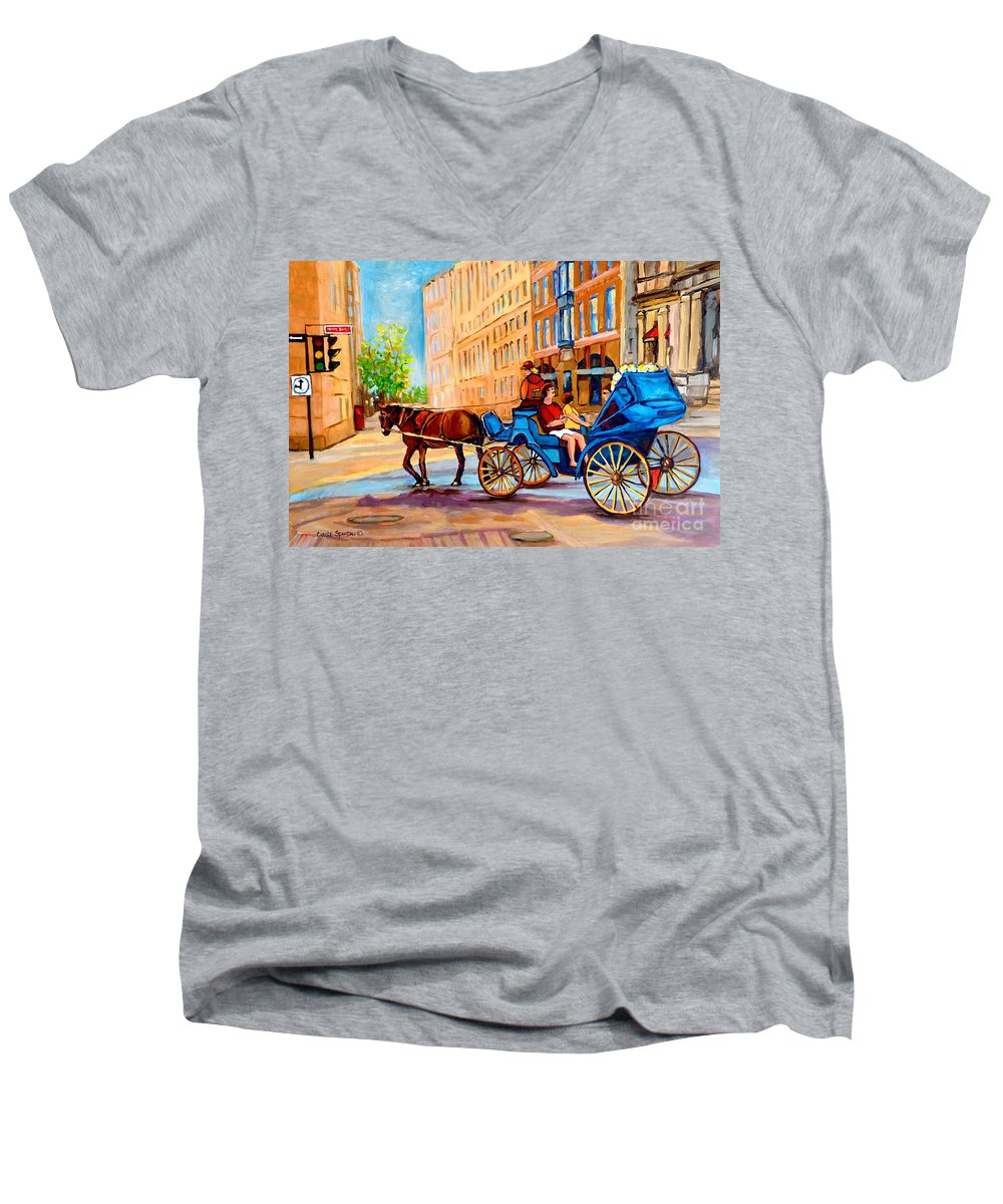 Rue Notre Dame Men's V-Neck T-Shirt featuring the painting Rue Notre Dame Caleche Ride by Carole Spandau