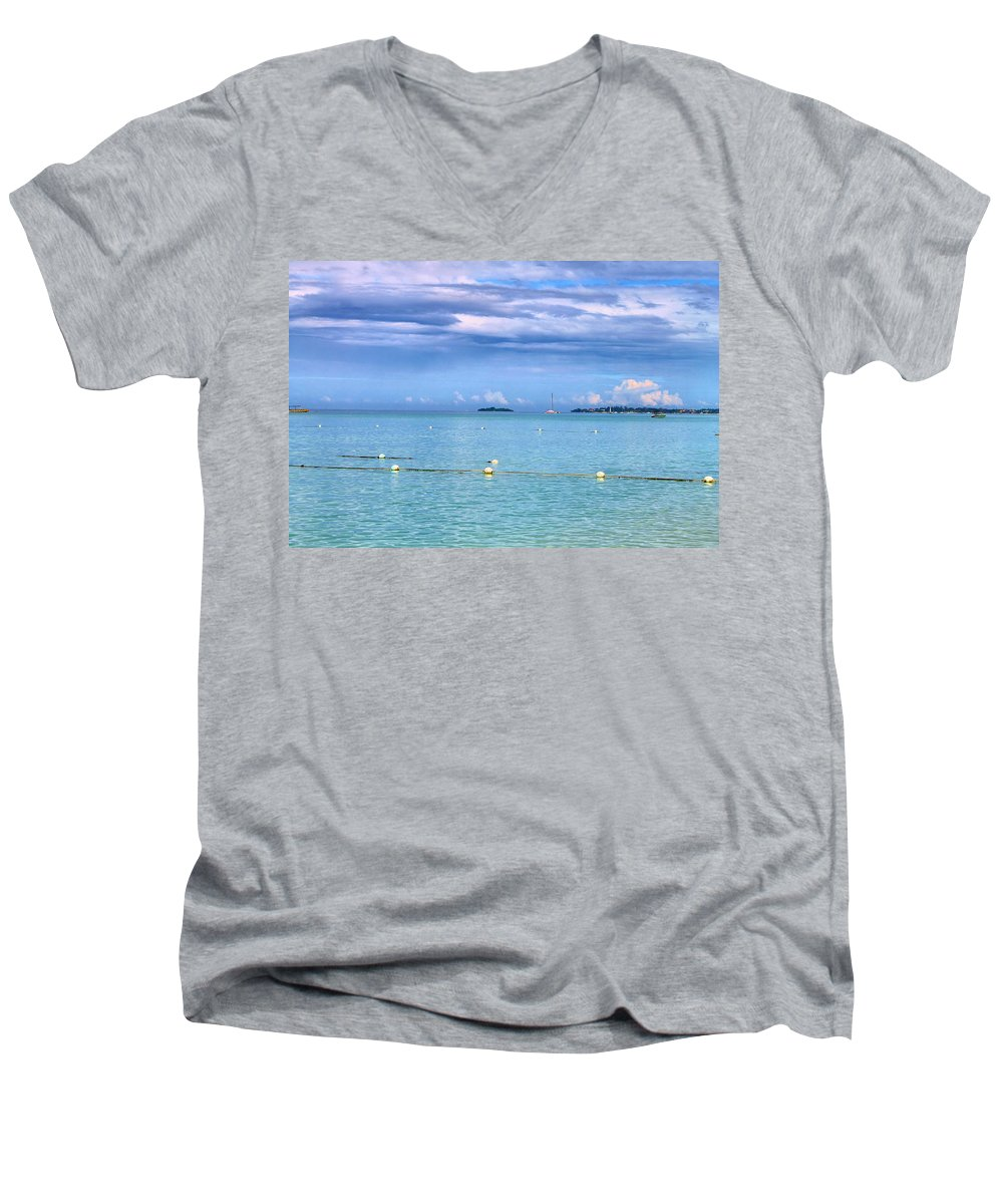 Sailing Men's V-Neck T-Shirt featuring the photograph Sail At Sea 2 by Debbie Levene