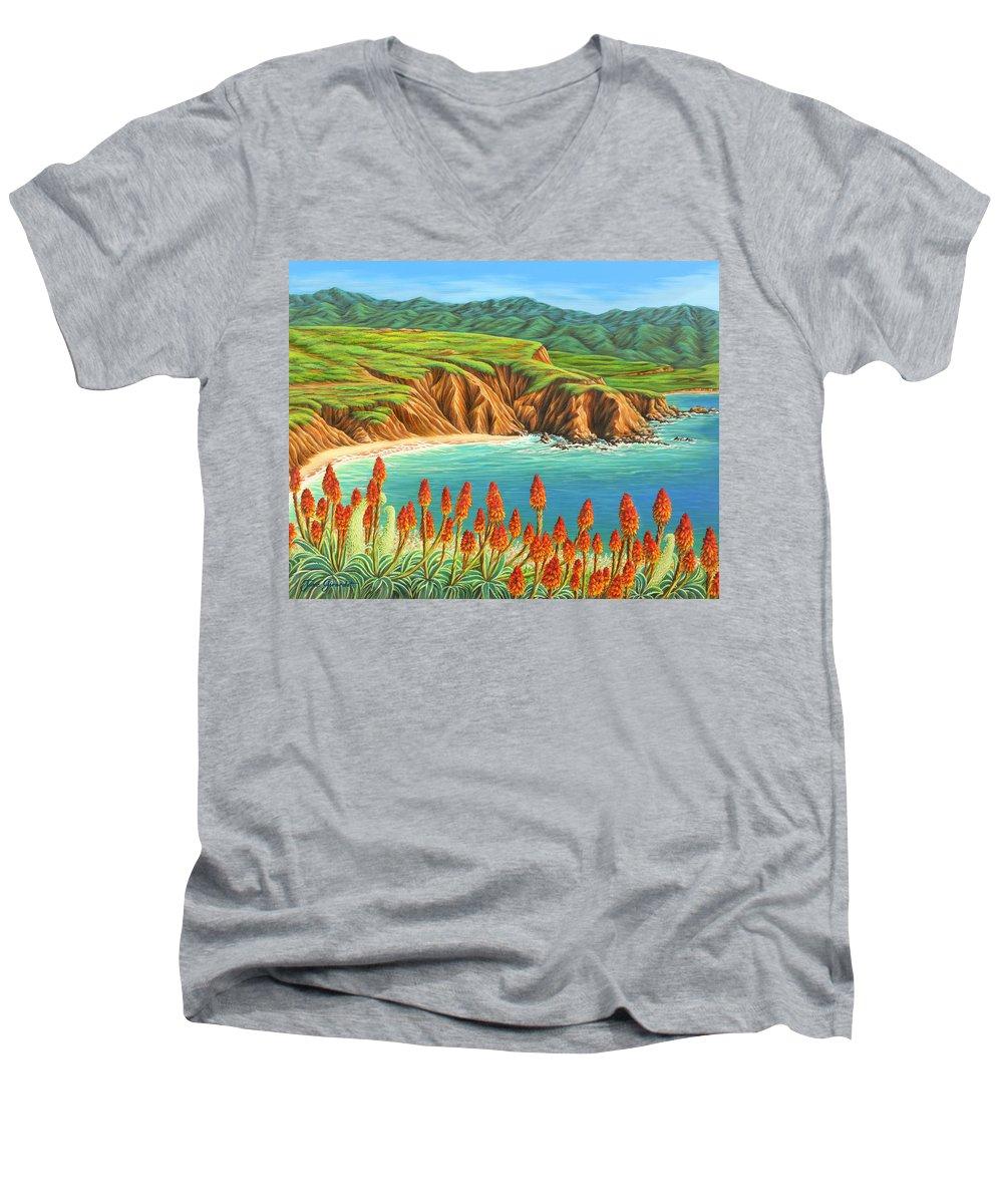 Ocean Men's V-Neck T-Shirt featuring the painting San Mateo Springtime by Jane Girardot