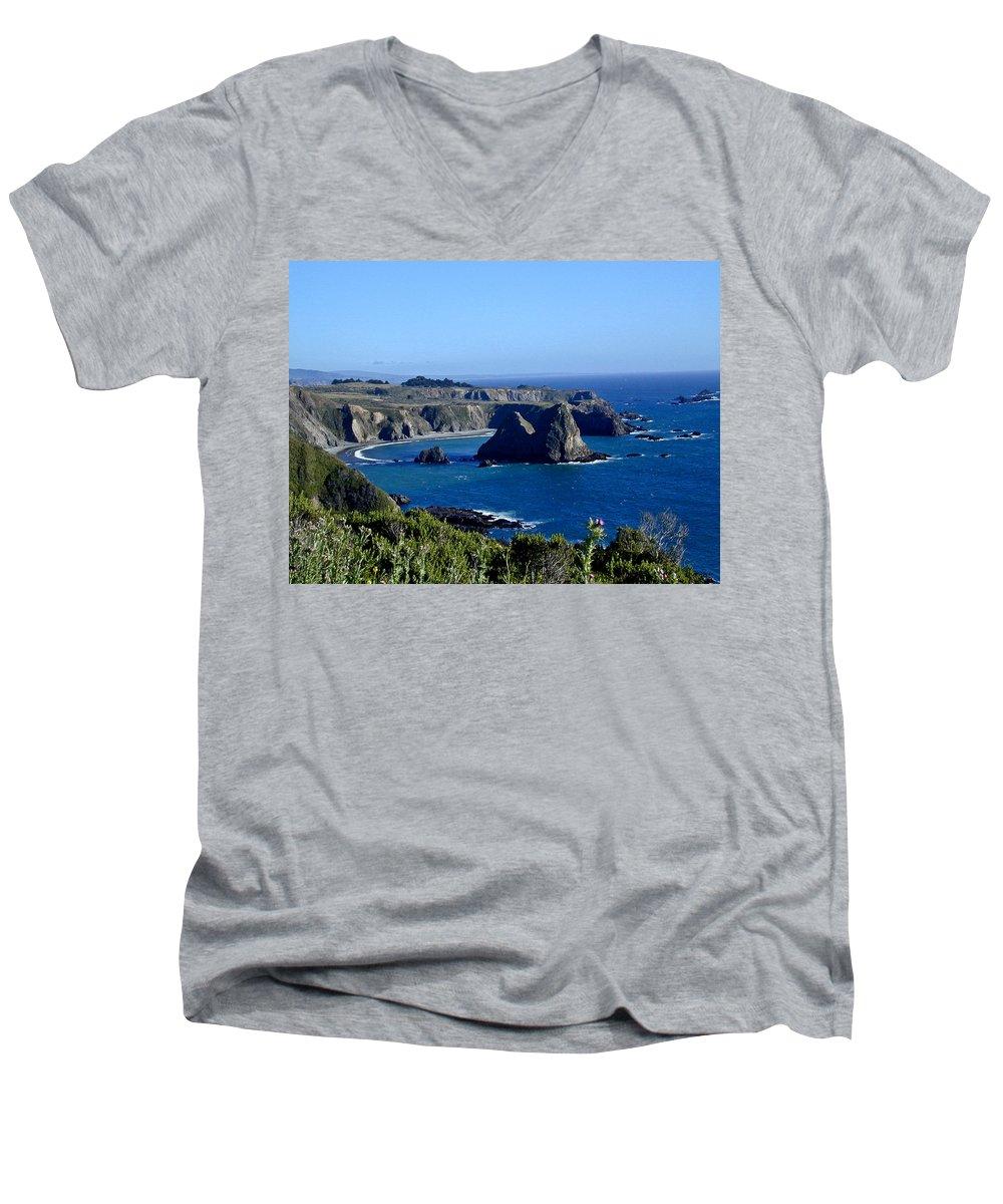 Sea Men's V-Neck T-Shirt featuring the photograph Sea Coast Of Northern California by Douglas Barnett