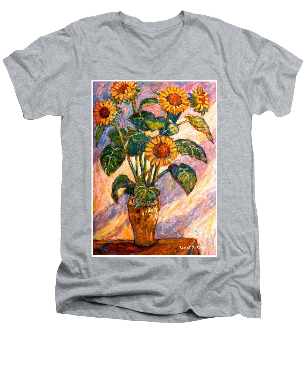 Floral Men's V-Neck T-Shirt featuring the painting Shadows On Sunflowers by Kendall Kessler