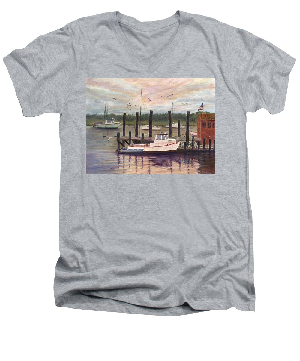 Charleston; Boats; Fishing Dock; Water Men's V-Neck T-Shirt featuring the painting Shem Creek by Ben Kiger