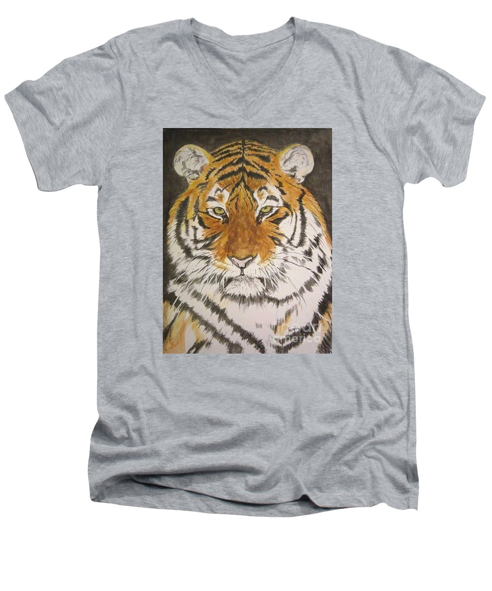 Siberian Tiger Men's V-Neck T-Shirt featuring the painting Siberian Tiger by Regan J Smith