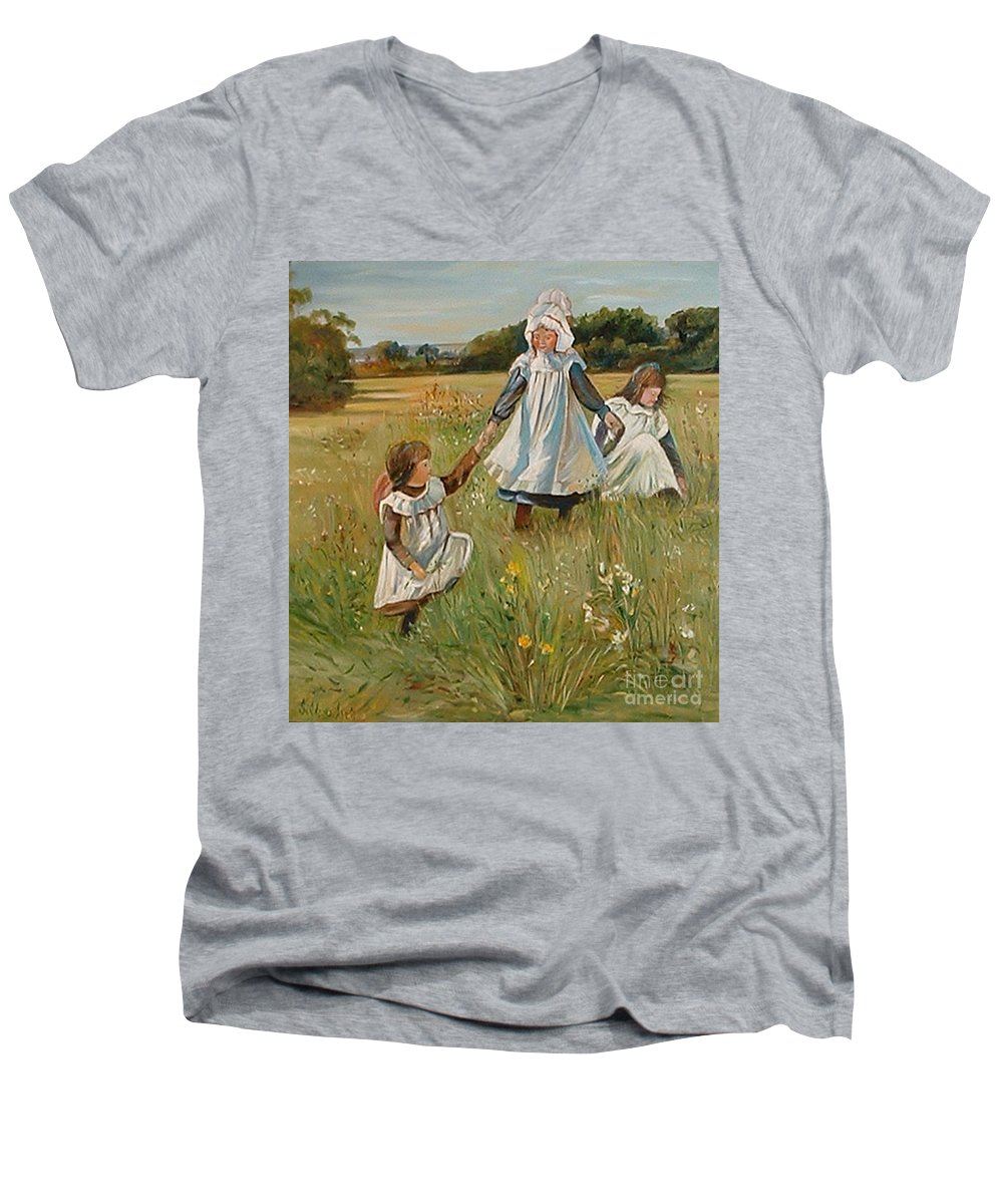 Classic Art Men's V-Neck T-Shirt featuring the painting Sisters by Silvana Abel