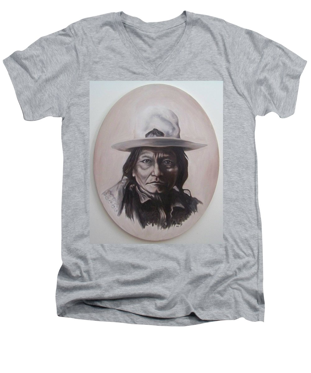 Michael Men's V-Neck T-Shirt featuring the painting Sitting Bull by Michael TMAD Finney