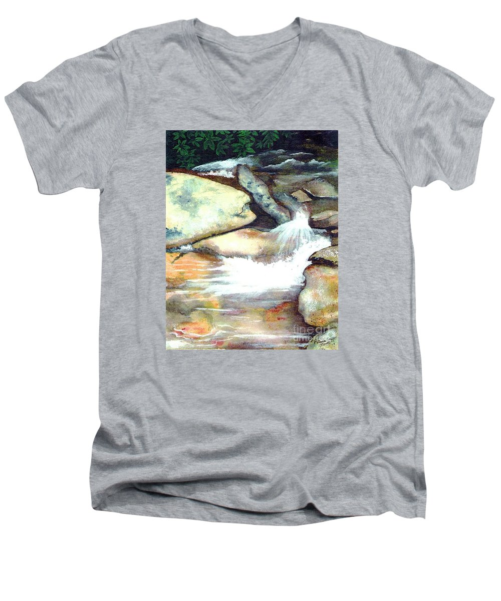 Fine Art Men's V-Neck T-Shirt featuring the painting Smoky Mountains Waterfall by Patricia Griffin Brett
