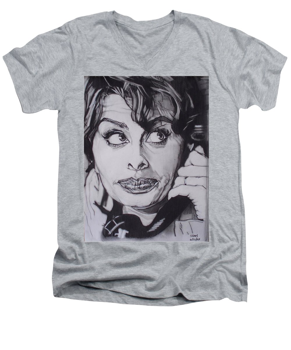 Charcoal;icon;actress;diva;italian;cat Eyes;beautiful;cute;adorable Men's V-Neck T-Shirt featuring the drawing Sophia Loren Telephones by Sean Connolly