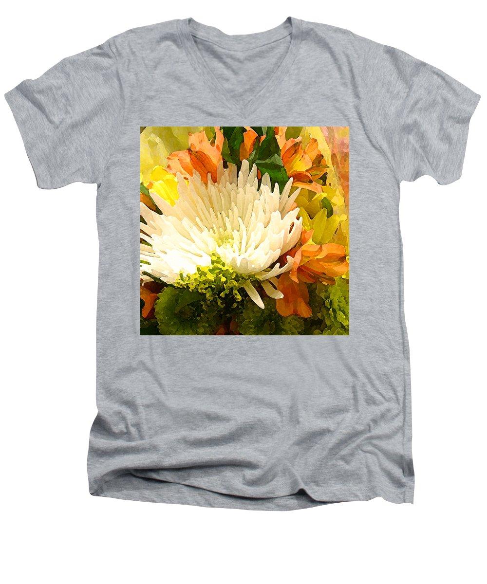 Roses Men's V-Neck T-Shirt featuring the painting Spring Flower Burst by Amy Vangsgard