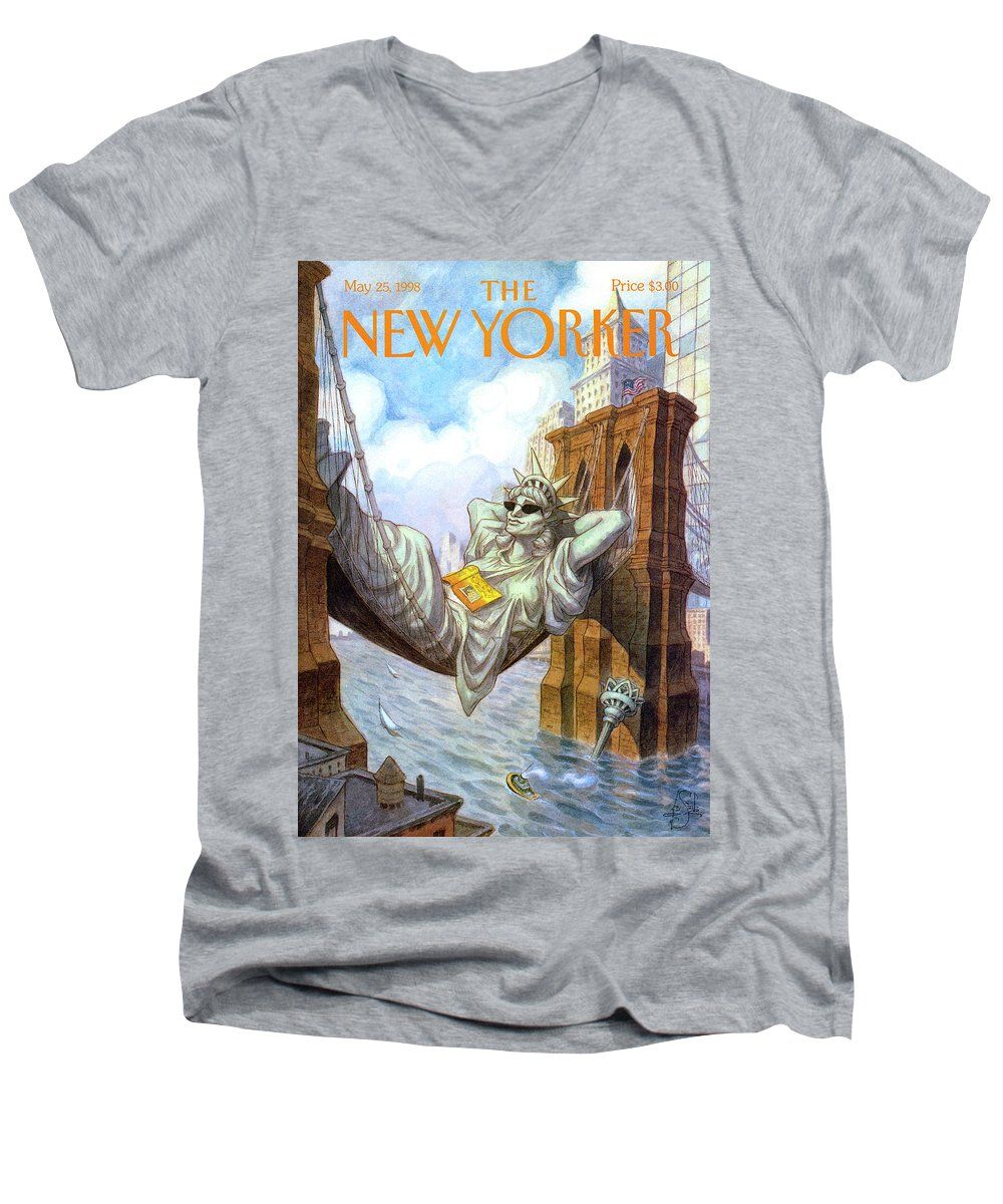 Liberty Men's V-Neck T-Shirt featuring the painting Statue Of Liberty Lounges Between The Brooklyn by Peter de Seve