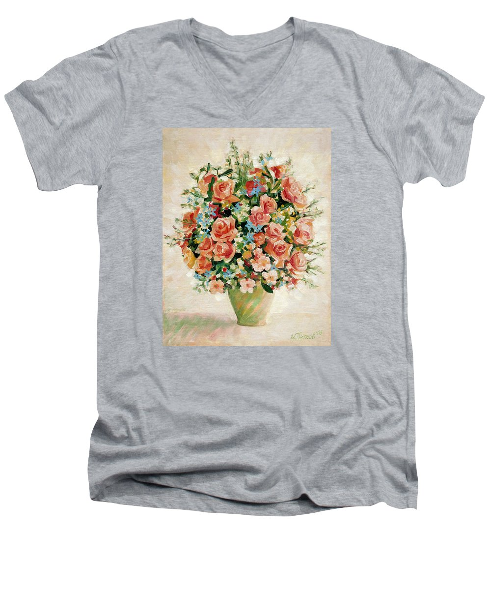 Flowers Men's V-Neck T-Shirt featuring the painting Still Life With Roses by Iliyan Bozhanov