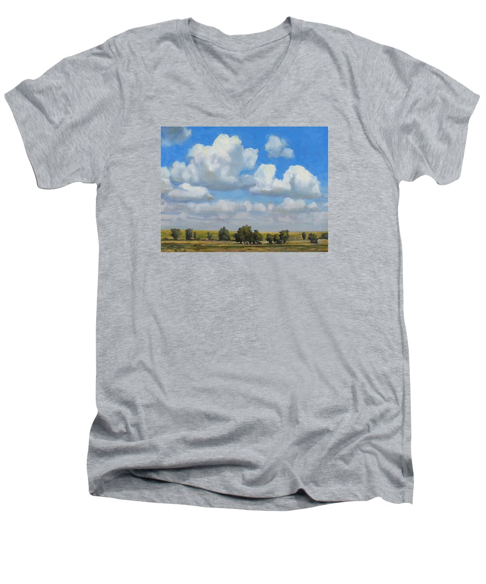 Landscape Men's V-Neck T-Shirt featuring the painting Summer Pasture by Bruce Morrison