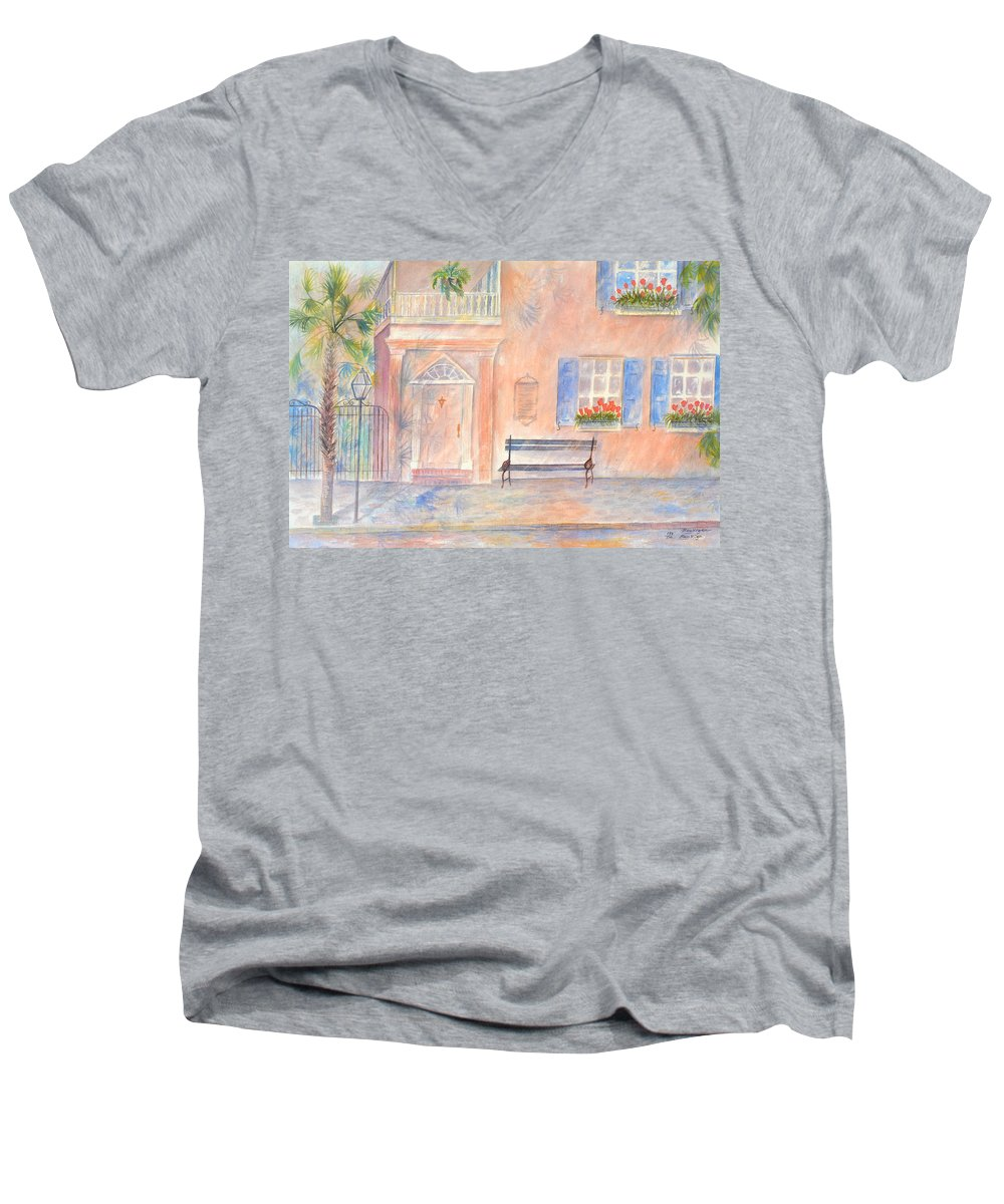 Charleston; Low Country; Palmetto Tree Men's V-Neck T-Shirt featuring the painting Sunday Morning In Charleston by Ben Kiger