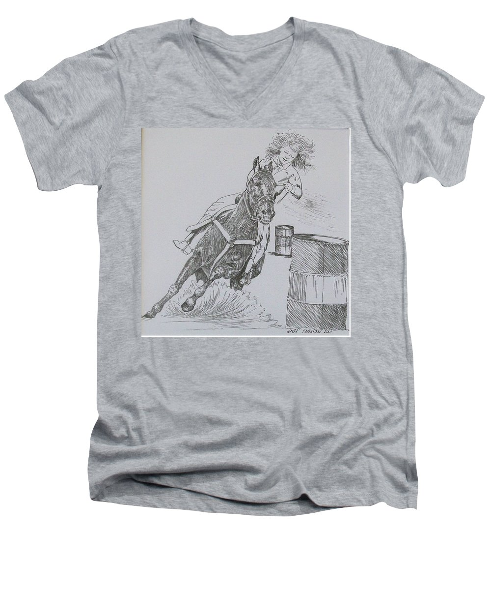 Black And Grey Black Poster Men's V-Neck T-Shirt featuring the drawing The Barrel Racer by Wanda Dansereau