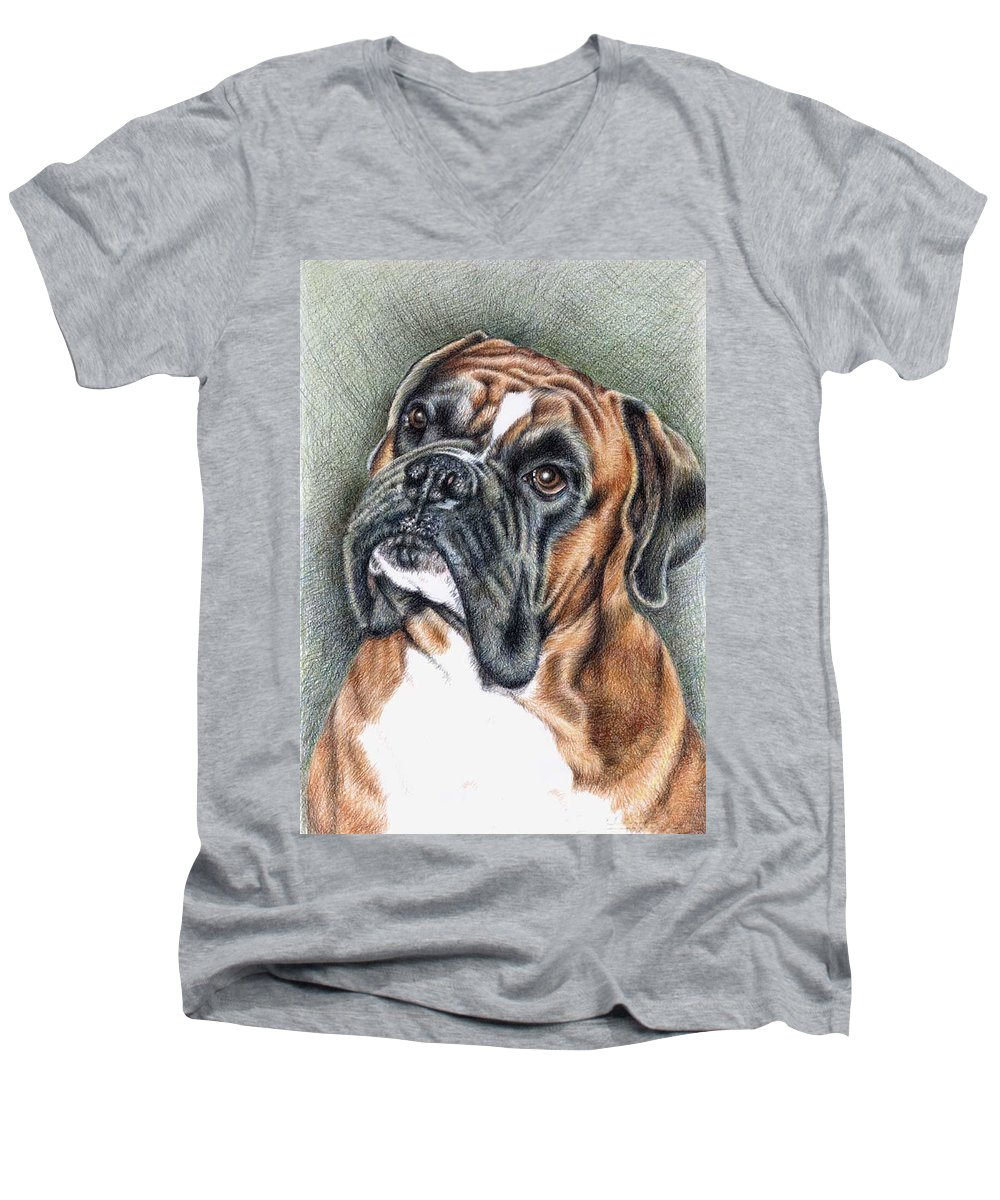 Dog Men's V-Neck T-Shirt featuring the drawing The Boxer by Nicole Zeug