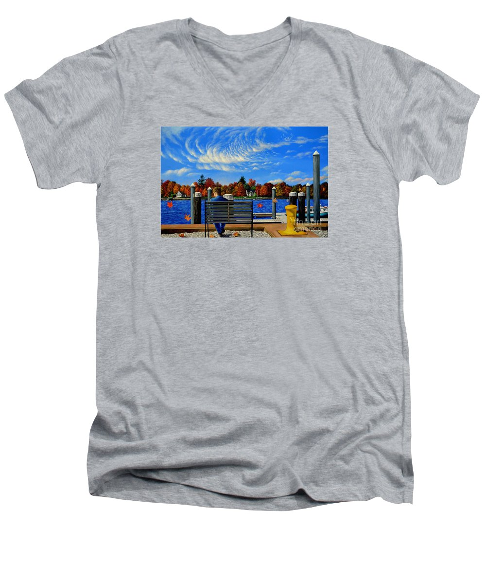 Dock Men's V-Neck T-Shirt featuring the painting The Dock By Christopher Shellhammer by Christopher Shellhammer