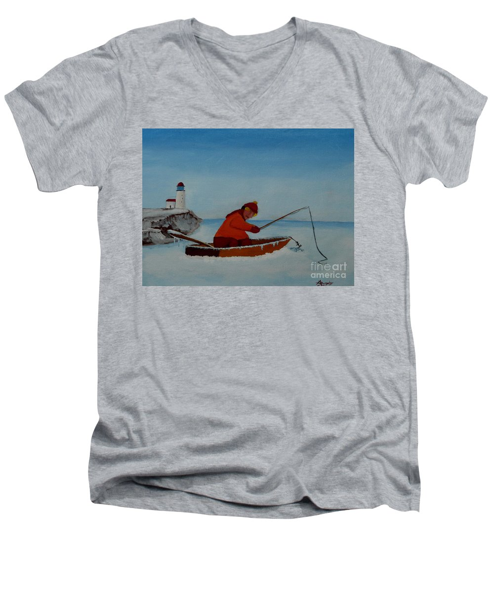 Stupid Men's V-Neck T-Shirt featuring the painting The Ice Fisherman by Anthony Dunphy