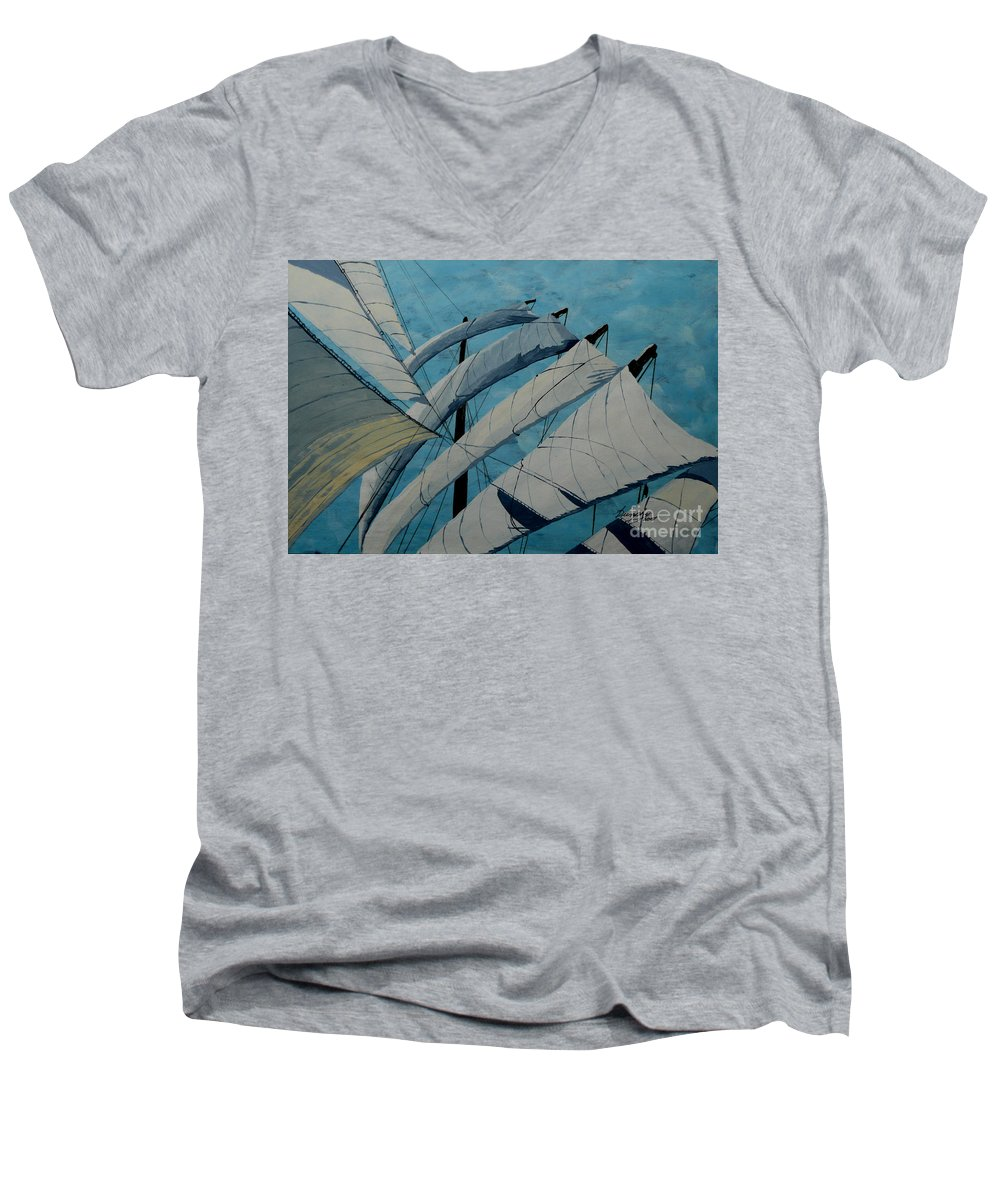 Sails Men's V-Neck T-Shirt featuring the painting The Tower Of Power by Anthony Dunphy