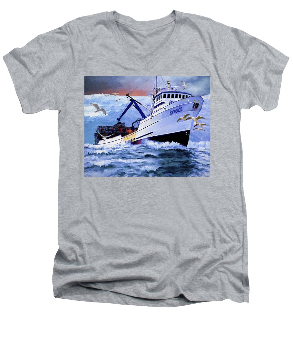 Alaskan King Crabber Men's V-Neck T-Shirt featuring the painting Time To Go Home by David Wagner
