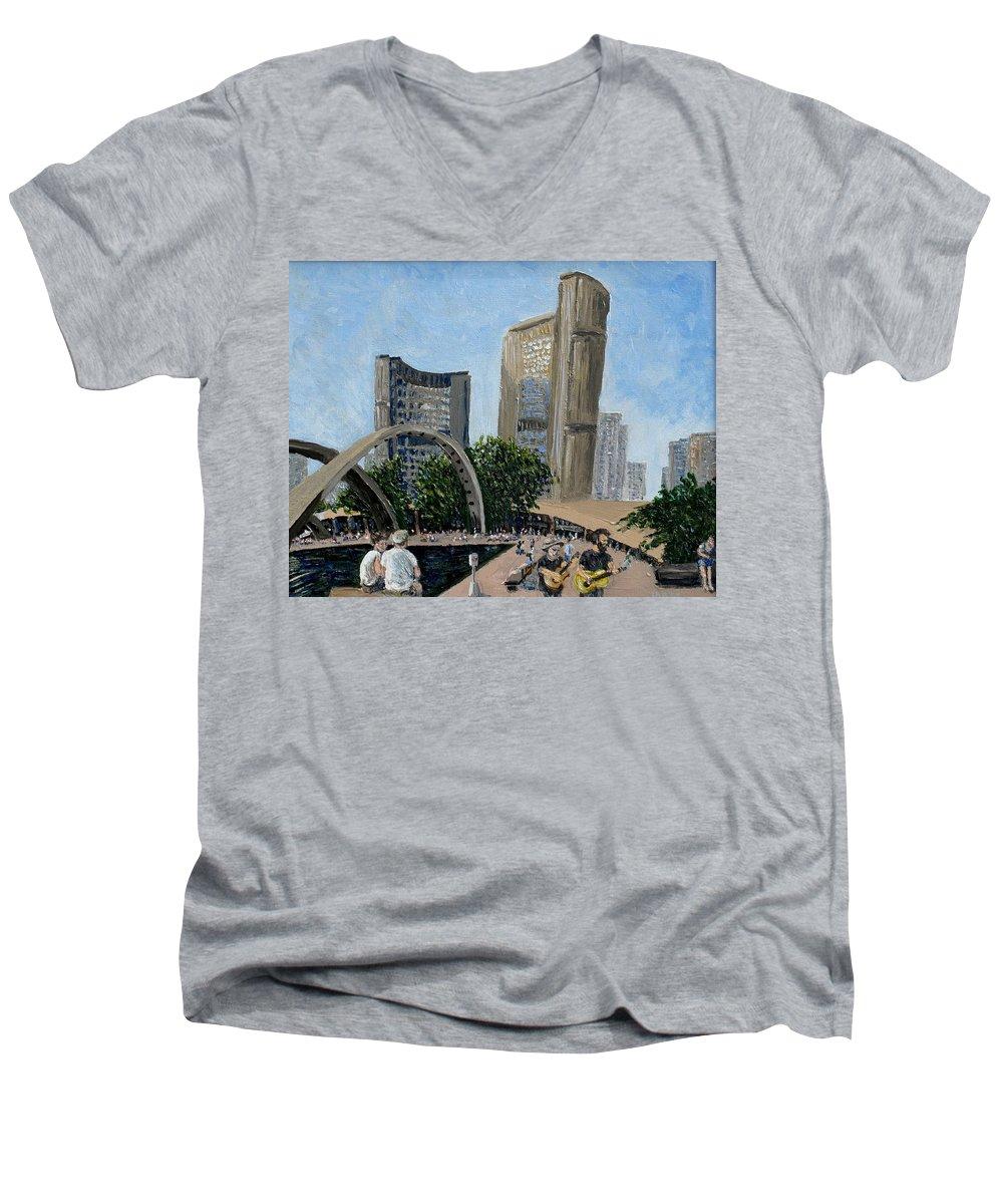 Toronto Men's V-Neck T-Shirt featuring the painting Toronto City Hall by Ian MacDonald