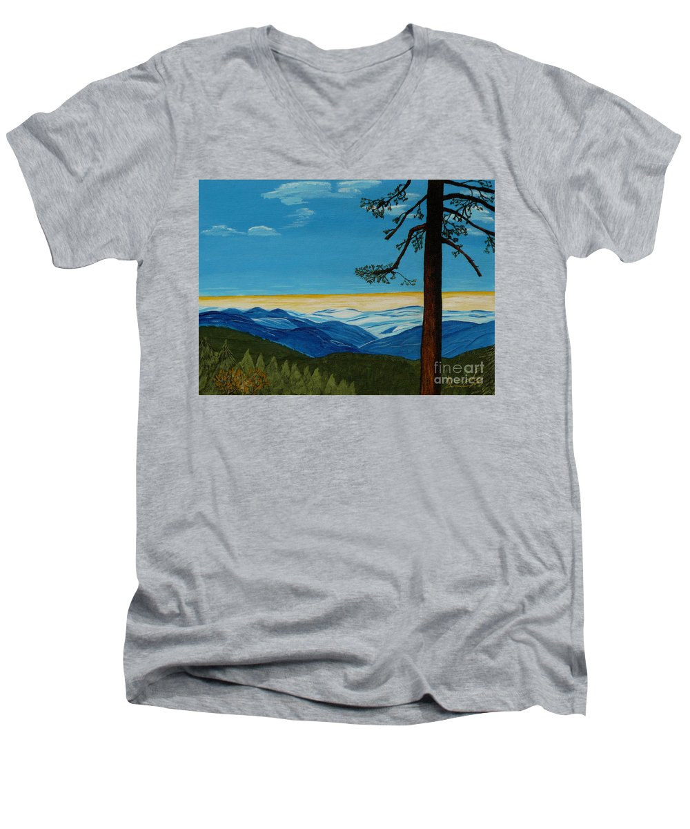 Mountain Men's V-Neck T-Shirt featuring the painting Tranquil Solitude by Anthony Dunphy