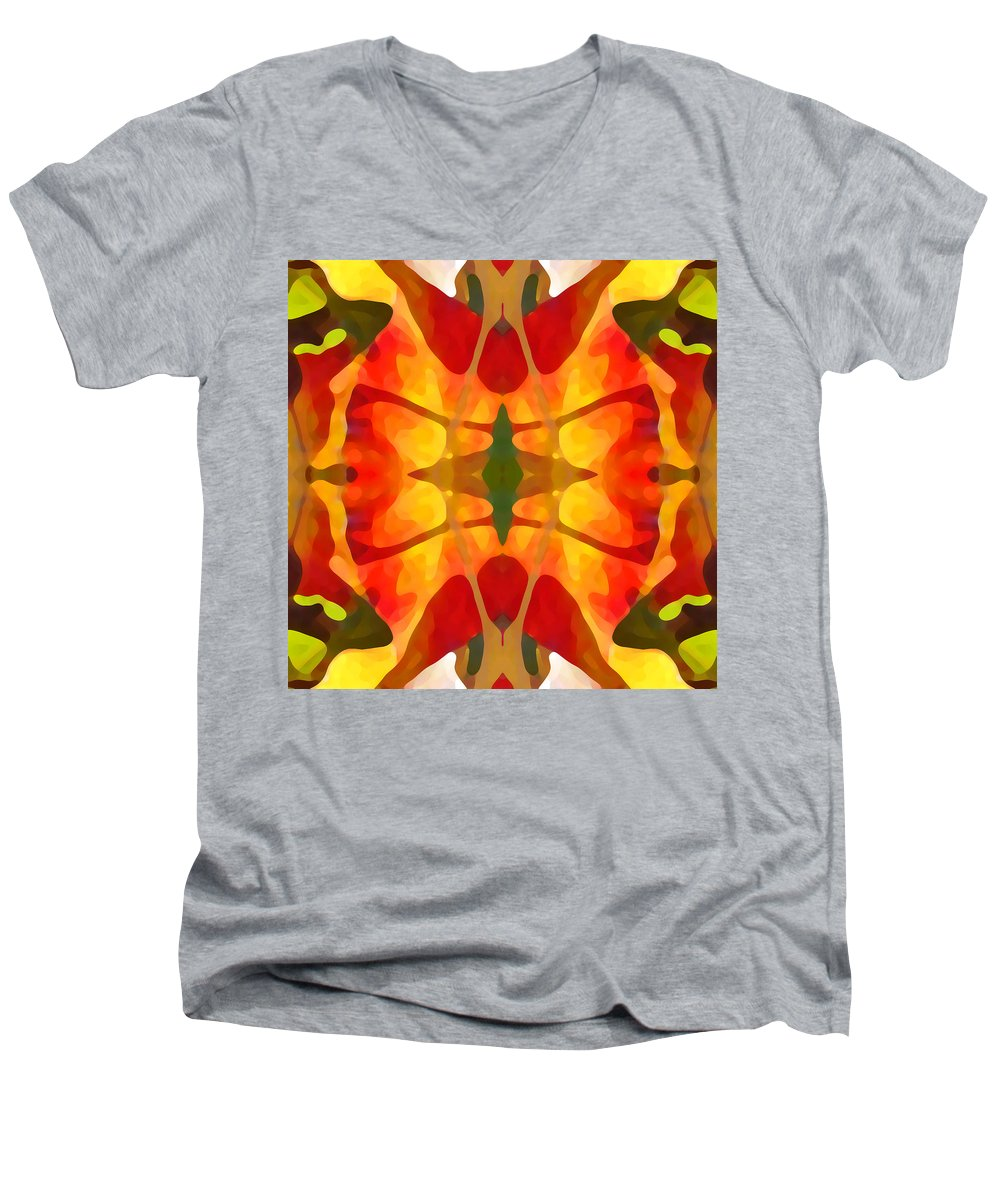 Abstract Men's V-Neck T-Shirt featuring the painting Tropical Leaf Pattern5 by Amy Vangsgard