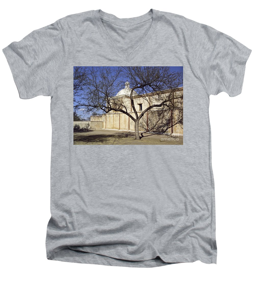 Mission Men's V-Neck T-Shirt featuring the photograph Tumacacori With Tree by Kathy McClure