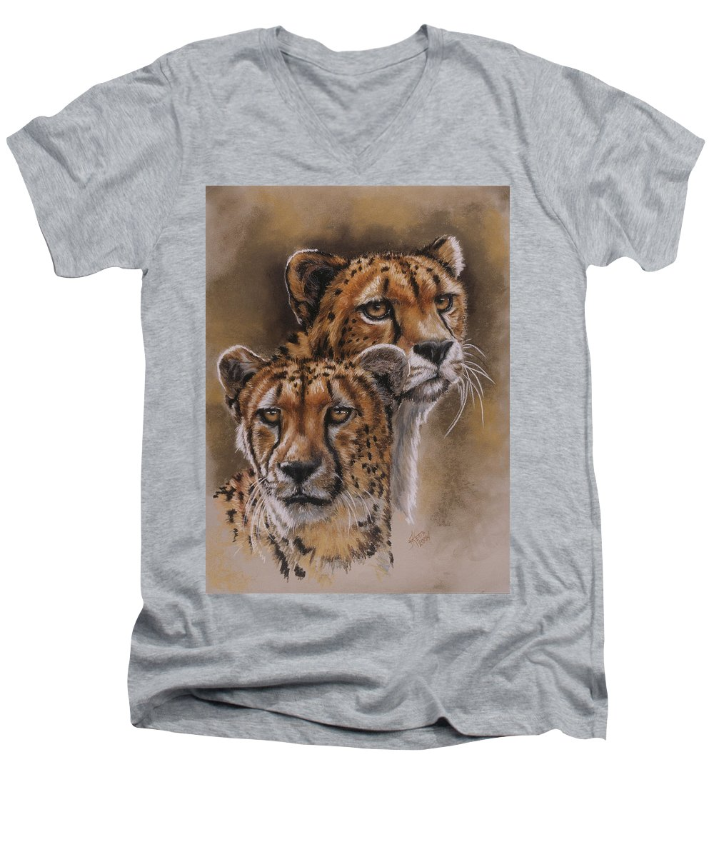 Cheetah Men's V-Neck T-Shirt featuring the pastel Twins by Barbara Keith