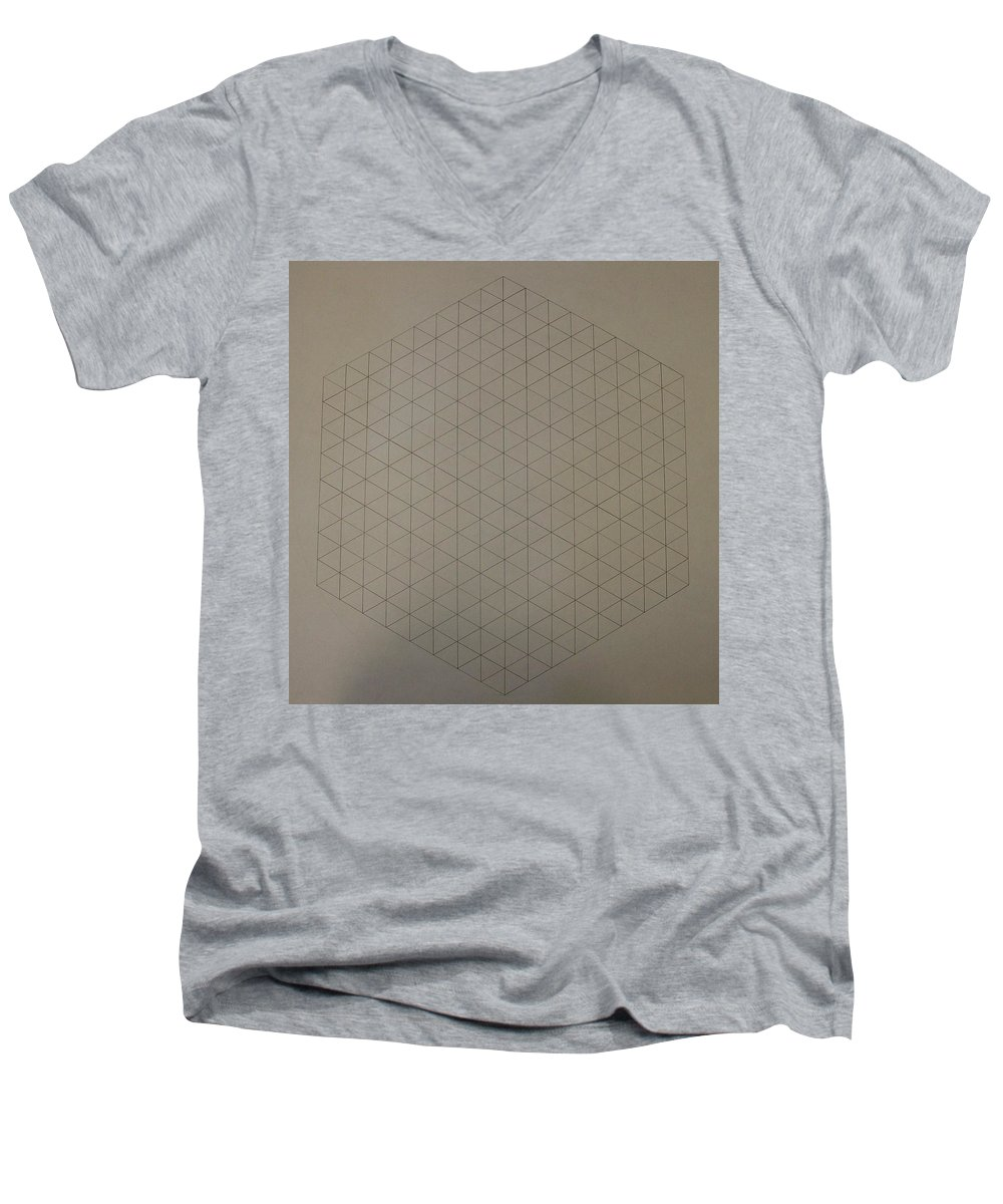 Math Men's V-Neck T-Shirt featuring the drawing Two To The Power Of Nine Or Eight Cubed by Jason Padgett