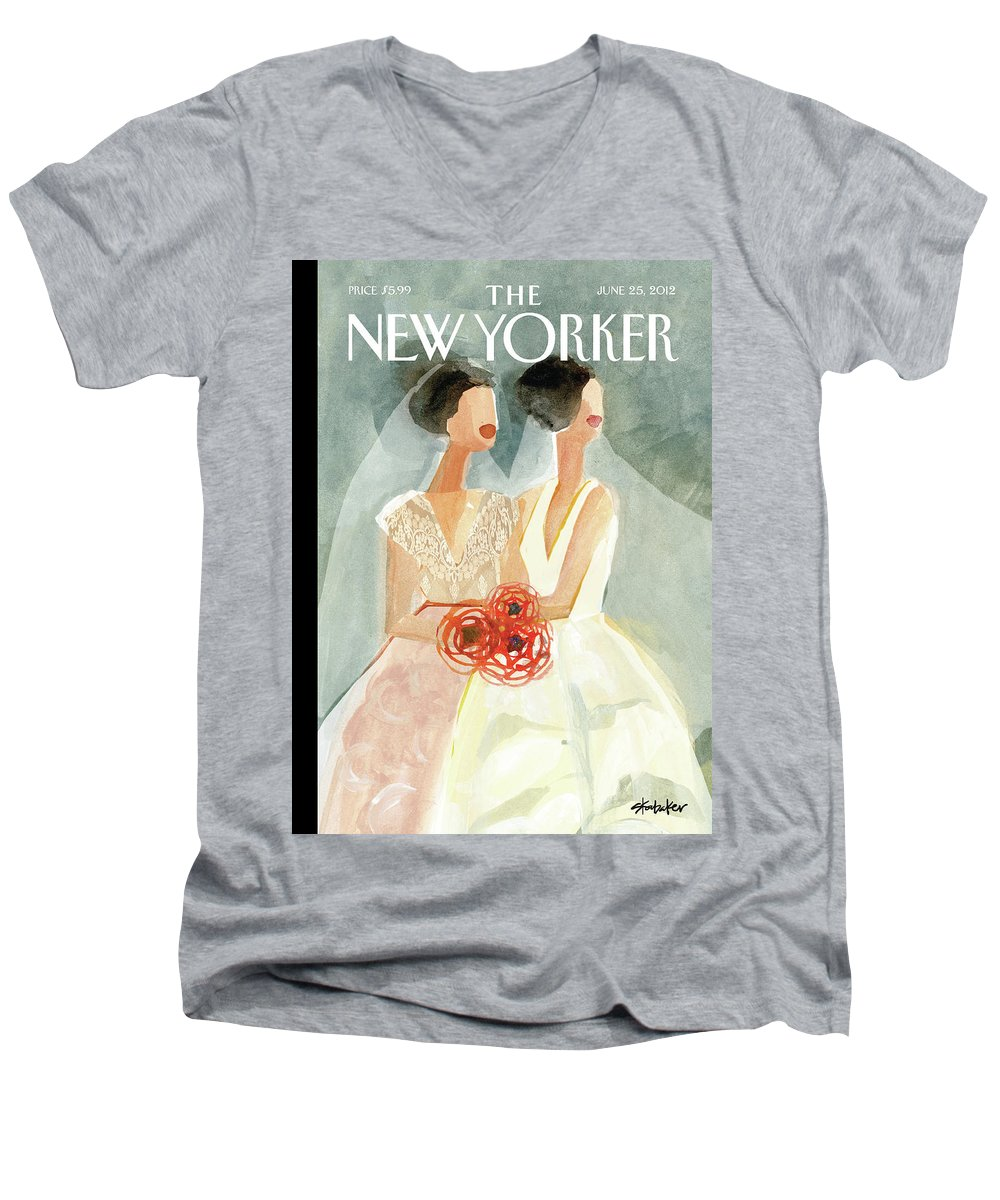 June Brides Men's V-Neck T-Shirt featuring the painting June Brides by Gayle Kabaker