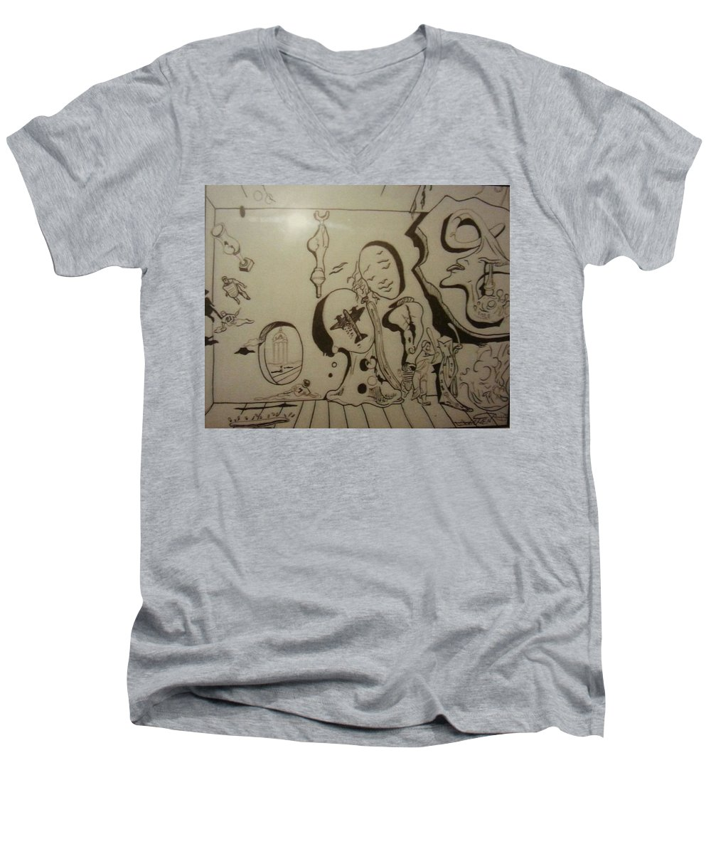 Men's V-Neck T-Shirt featuring the drawing Untitled by Jude Darrien